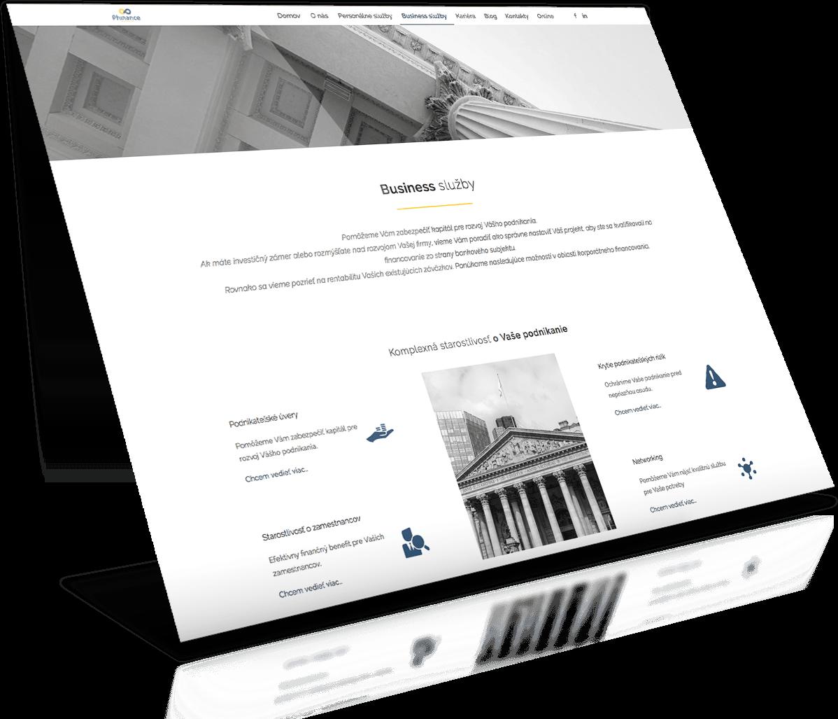 Tvorba web stránok - referencia phinance.sk